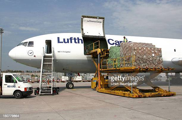 Cargo plane of the Lufthansa Cargo AG is loading up at the Frankfurt Airport