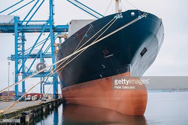 Cargo ship anchored in harbor, Tacoma, Washington, USA