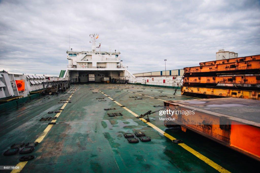 Cargo ship deck : Stock Photo