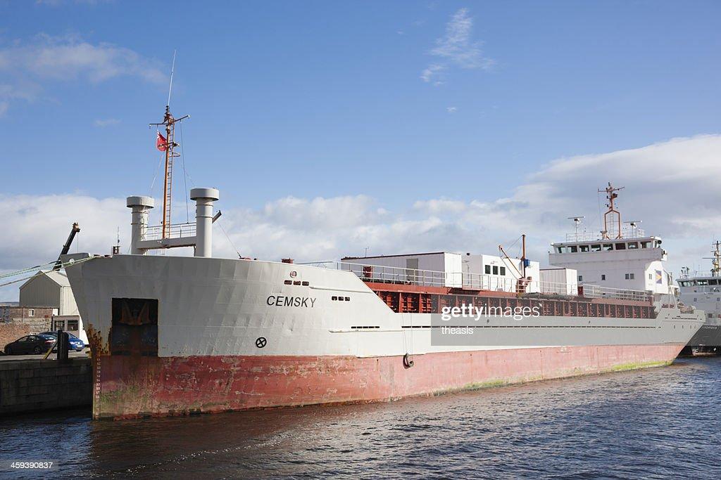 Cargo Ship Docked At Greenock : Stock Photo