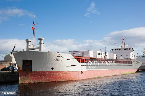 cargo ship docked at greenock - theasis stock pictures, royalty-free photos & images