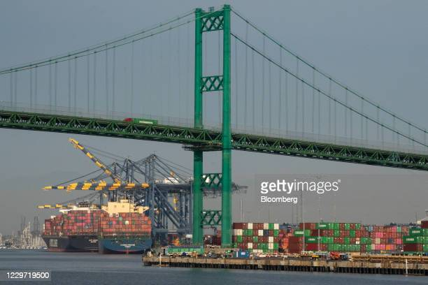 Cargo ship docked near the Evergreen Marine Corp. Shipping terminal at the Port of Los Angeles in Los Angeles, California, U.S., on Friday, Nov. 20,...