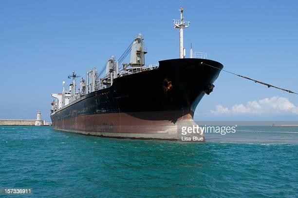 Cargo Ship Entering the Harbor