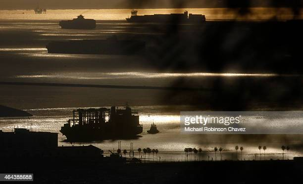 Cargo ship enters the Port of Los Angeles as other ships still wait to be unloaded on FEBRUARY 25 2015 Now that dockworkers and employers have...