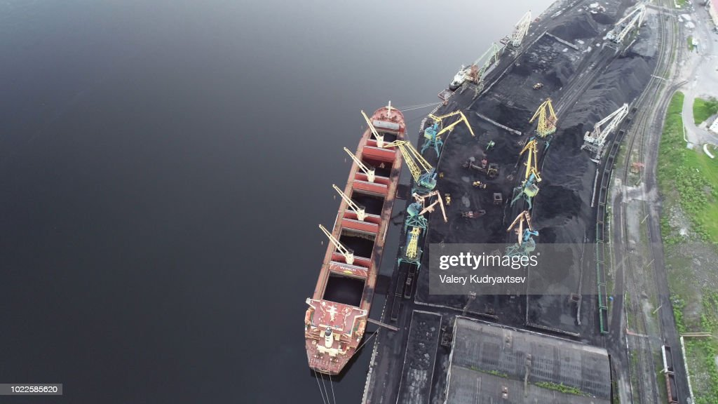 Cargo Ship in the Port Aerial View from Drone : Stock Photo