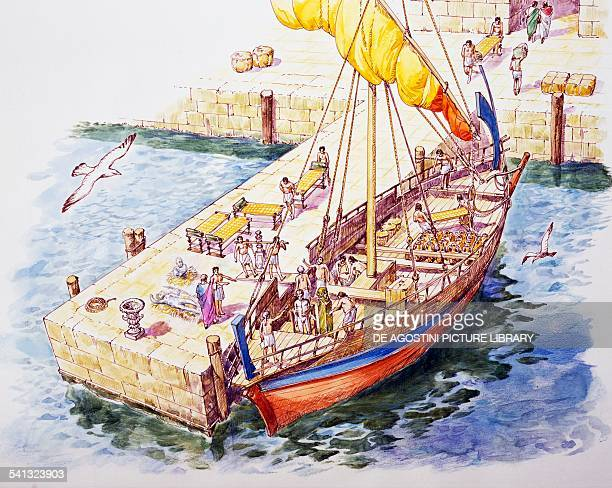Cargo ship in the port of Athens drawing Greek civilisation 1st century BC