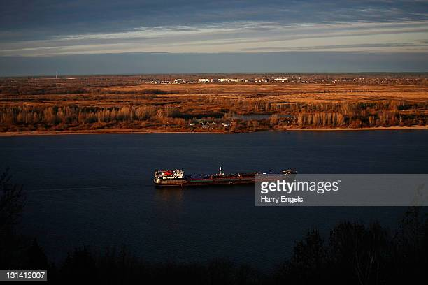 A cargo ship makes its way down the Volga on November 4 2011 in Nizhny Novgorod Russia Nizhny Novgorod is one of thirteen cities proposed as a host...