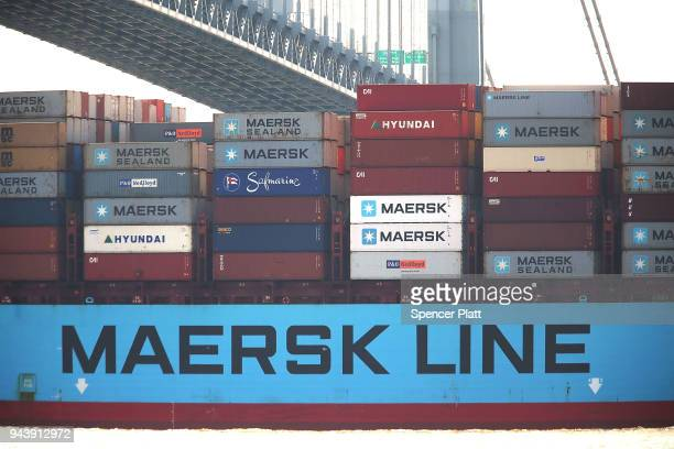 A cargo ship owned by Maersk arrives into New York harbor on April 9 2018 in New York City As a potential trade war with China continues to spook...