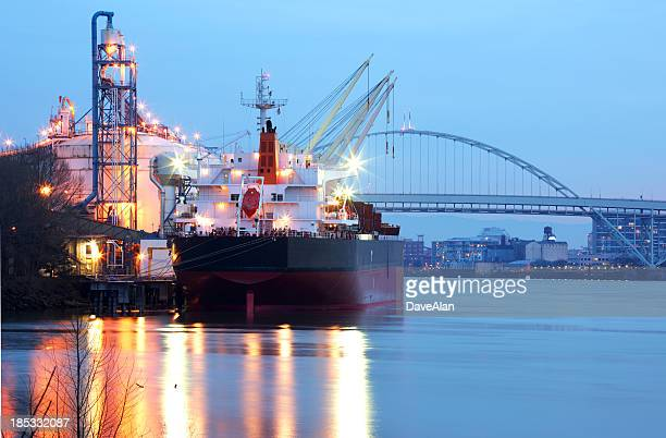 cargo ship portland port river. - willamette river stock photos and pictures