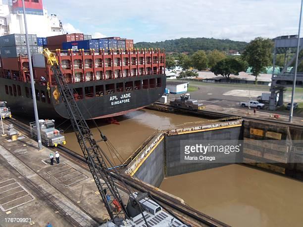 Cargo Ship sailing through the Panama Canal