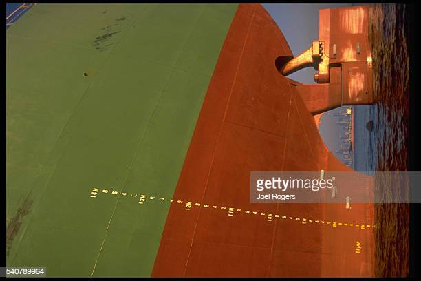 A cargo ship stops in Elliott Bay Seattle Washington USA