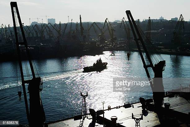 Cargo ships ply their trade, December 8, 2004 in the Ukranian port city of Odessa. Situated at the crossroads of several of the world's major trading...