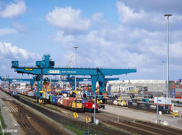 Cargo train and containers in harbour, Rotterdam, Netherlands, Europe