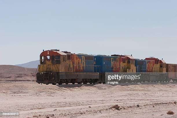 Cargo Train Of The Ferrocarril Antofagasta Bolivia Pampa Union Antofagasta Region Chile