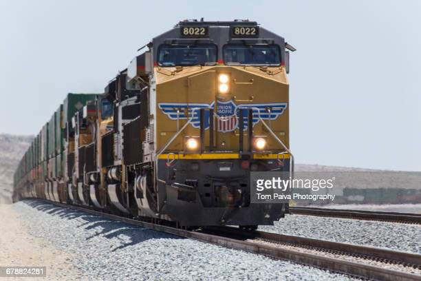 Cargo train on railroad track