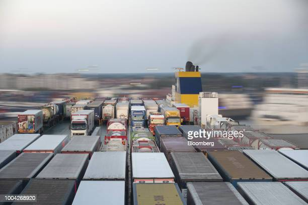 Cargo trailers sit on the dockside at the Port of Zeebrugge in Zeebrugge Belgium on Friday July 20 2018 The European Union is telling governments and...