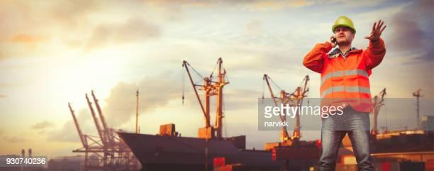 trabalhador de carga, organização do trabalho no porto - porto comercial - fotografias e filmes do acervo