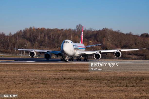Cargolux Airlines International Boeing 7478F with registration LXVCC taxiing and departing from Luxembourg Findel Airport LUX ELLX The aircraft has...