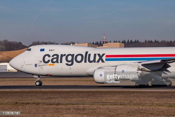 Cargolux Airlines International Boeing 747-8F with registration LX-VCC taxiing and departing from Luxembourg Findel Airport LUX ELLX. The aircraft...