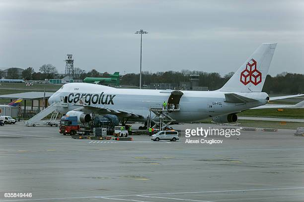 Cargolux plane at London Stansted Airport
