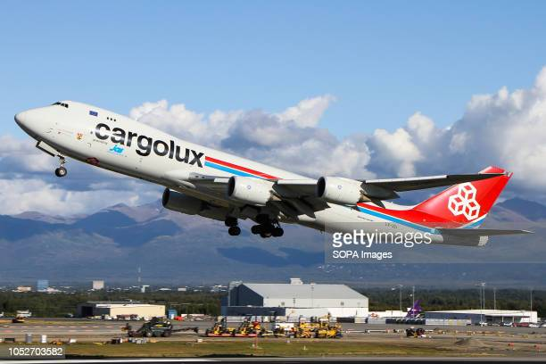 L AIRPORT ANCHORAGE ALASKA UNITED STATES Cargolux seen departing beautiful Anchorage