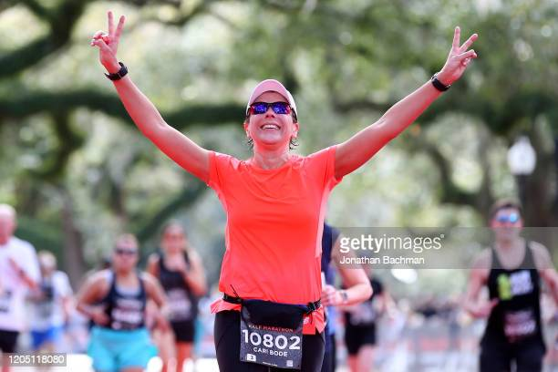 Cari Bode reacts after finishing the Humana Rock 'n' Roll New Orleans 1/2 Marathon on February 09, 2020 in New Orleans, Louisiana.
