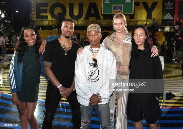 Cari Champion Damian Lillard Pharrell Williams Karlie Kloss and Alexander Wang at adidas Creates 747 Warehouse St an event in basketball culture on...
