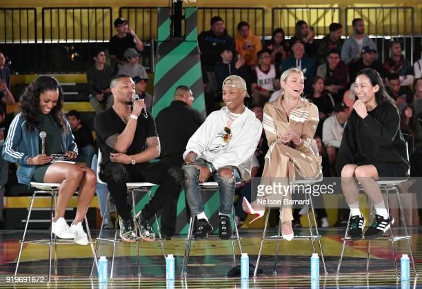 Cari Champion Damian Lillard Pharrell Williams Karlie Kloss and Alexander Wang at adidas Creates 747 Warehouse St an event in basketball culture on...