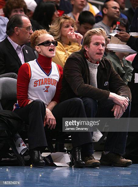Cari Modine and Matthew Modine during Celebrities Attend Minnesota Timberwolves vs New York Knicks Game April 6 2007 at Madison Square Garden in New...