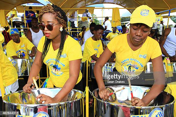 Carib Dixieland Steel Orchestra from Tobago performs during National Panorama SemiFinals in the Queens Park Savannah as part of Trinidad and Tobago...