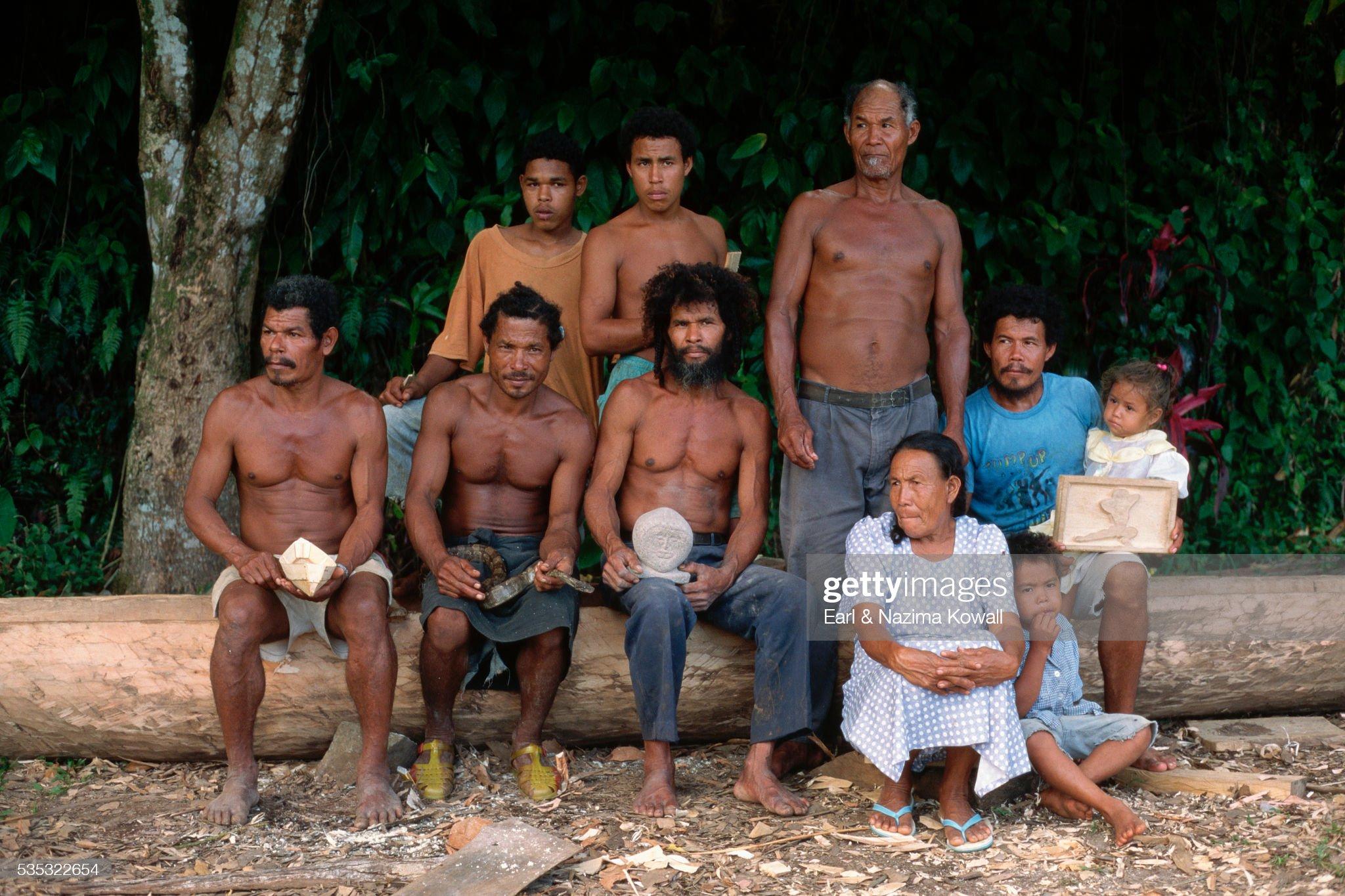 Carib Family at Dominica Reserve : Stock Photo