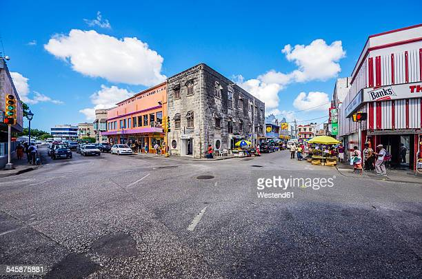 caribbean, antilles, lesser antilles, barbados, bridgetown, street and houses - bridgetown barbados stock pictures, royalty-free photos & images