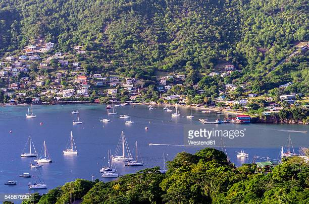 Caribbean, Antilles, Lesser Antilles, Grenadines, Bequia, Bay with sailing boats