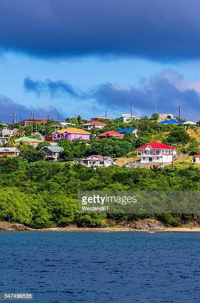 Caribbean, Antilles, Lesser Antilles, Grenadines, Mayreau, View to houses at coast