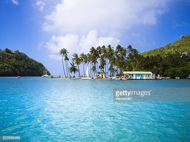 caribbean, antilles, lesser antilles, saint lucia, marigot bay - st. lucia stock pictures, royalty-free photos & images