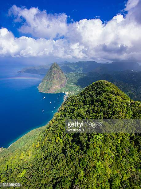 caribbean, antilles, lesser antilles, saint lucia, pitons bay, aerial view to volcanos gros piton and petit piton - st. lucia stock pictures, royalty-free photos & images
