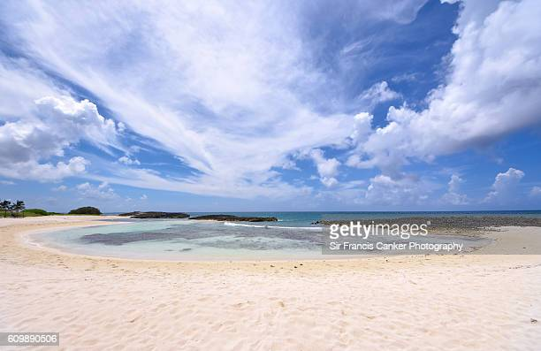 Caribbean beach with turquoise waters, white sand and barrier reef in Cayo Santa Maria, Cuba