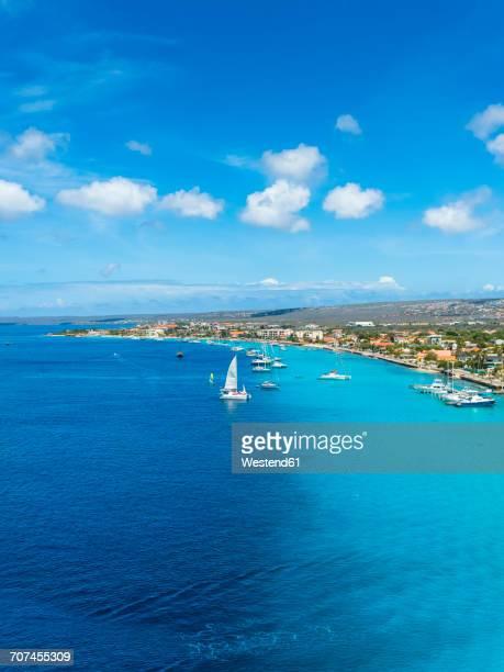 Caribbean, Bonaire, Kralendijk, coast and townscape