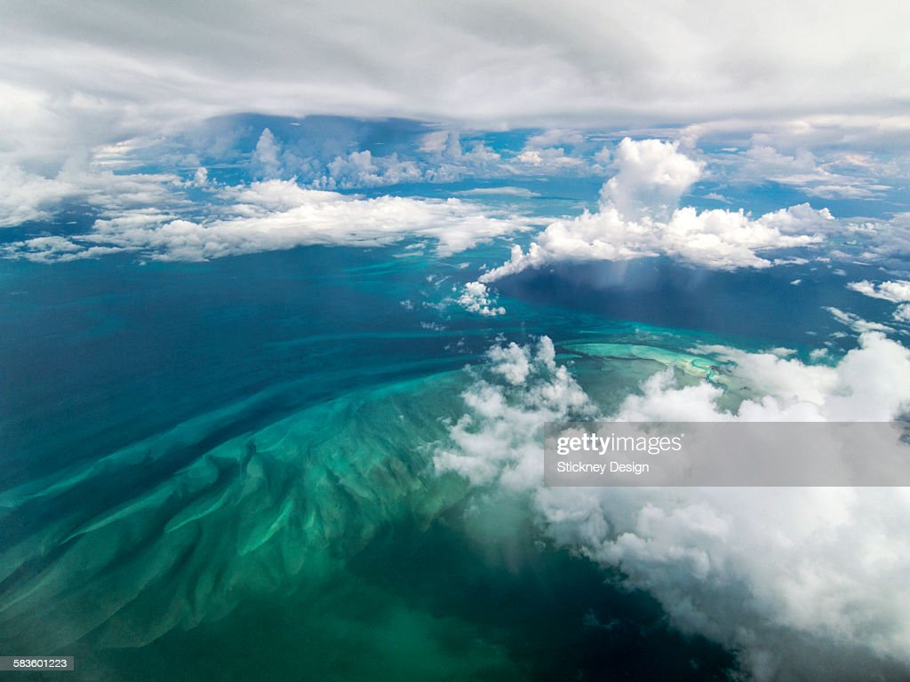 Caribbean Cloudscape Aerial Turquoise Sand Bars : Stock Photo