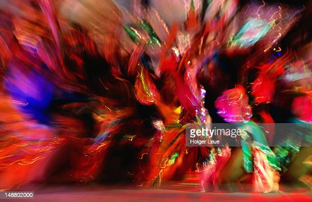 caribbean dancers during cohobblopot event at crop-over festival. - headdress stock pictures, royalty-free photos & images