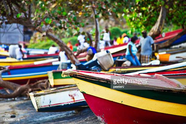 caribbean fishing boats - jamaica stock pictures, royalty-free photos & images