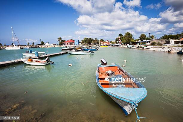 Caribbean Fishing Harbor with Boats