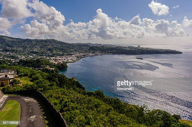 caribbean, grenadines, st. vincent, as seen from fort charlotte - セントビンセント島 ストックフォトと画像