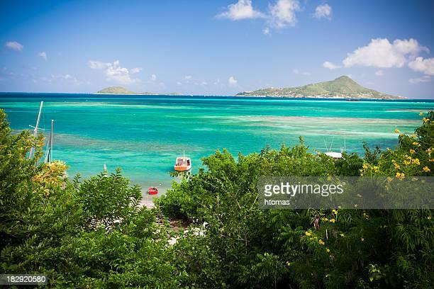 caribe con barcos a la laguna - paisajes de isla de  granada fotografías e imágenes de stock