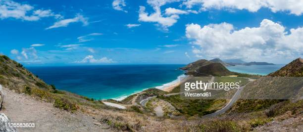 caribbean, lesser antilles, saint kitts and nevis, basseterre, view to salt pond - st. kitts stock photos and pictures
