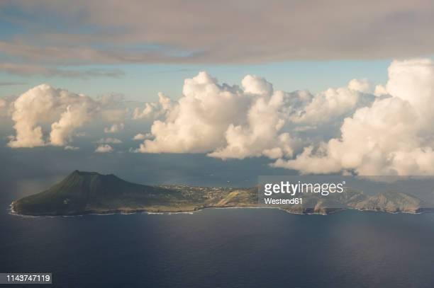 caribbean, netherland antilles, st. eustatius, oranjestad, aerial view - シント・ユースタティウス島 ストックフォトと画像