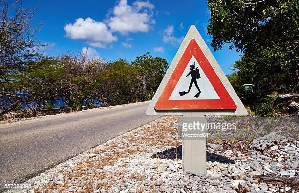 Caribbean, Netherlands Antilles, Bonaire, road sign with scuba diver