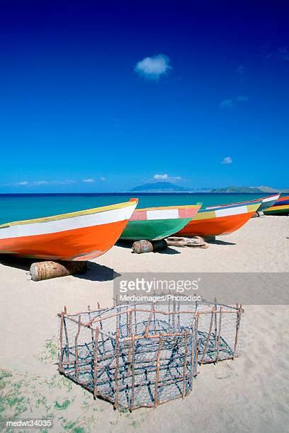 Caribbean, Nevis, Pinneys Beach, Fishing boat on a beach