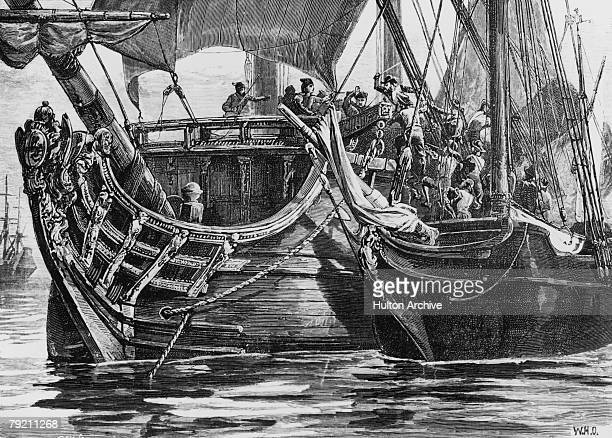 French pirate Pierre Francois attacks and boards the Spanish Vice Admiral which is defending the pearl fleet off Colombia circa 1660 By W H O