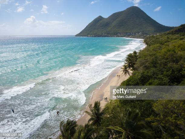 caribbean scene at diamond beach, le diamant, martinique - isla martinica fotografías e imágenes de stock